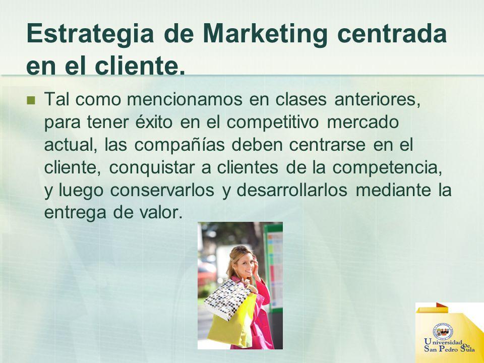 Estrategia de Marketing centrada en el cliente. Tal como mencionamos en clases anteriores, para tener éxito en el competitivo mercado actual, las comp