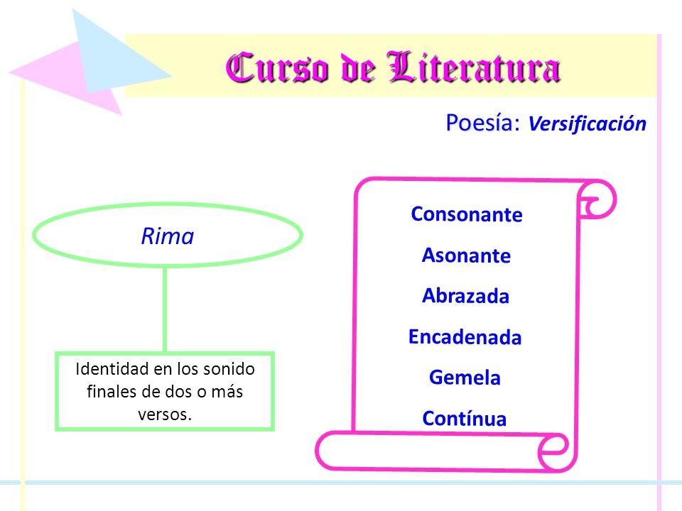 Curso de Literatura Poesía Poesía: Versificación Rima Identidad en los sonido finales de dos o más versos. Consonante Asonante Abrazada Encadenada Gem