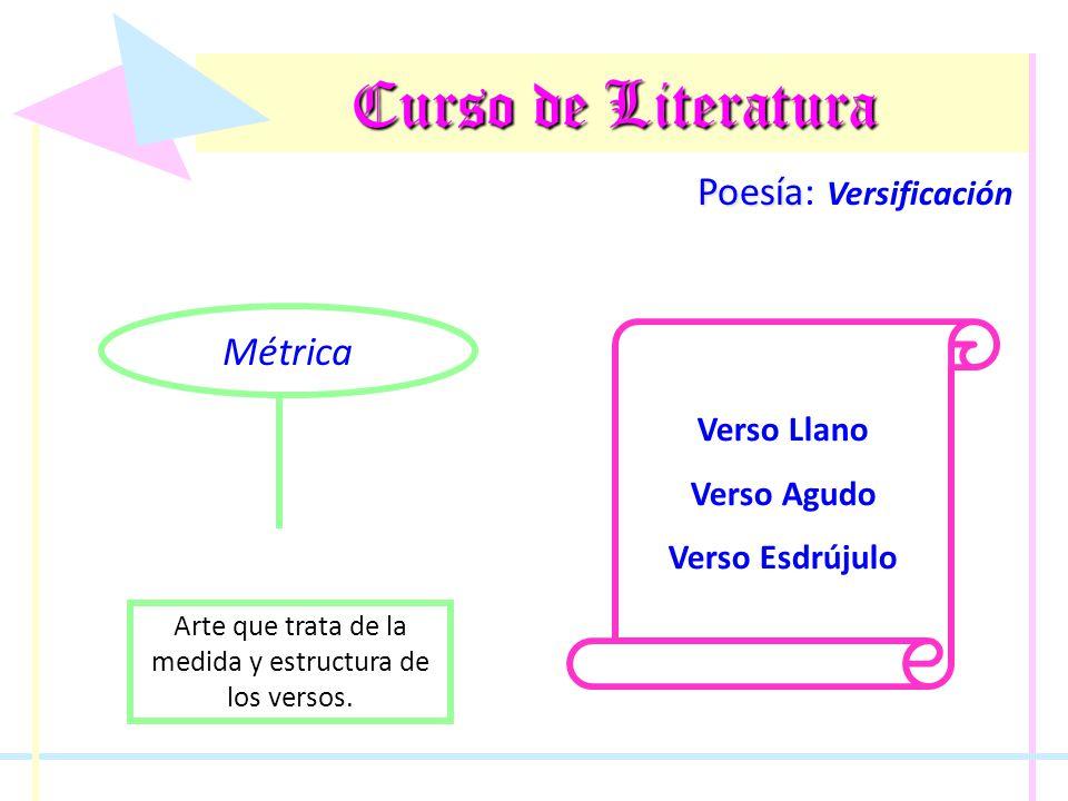 Curso de Literatura Poesía Poesía: Versificación Licencias Poéticas Sinalefa Hiato Sinéresis Diéresis Contrario a la sinéresis; ocurre cuando se separan dos vocales que generalmente forman un diptongo.