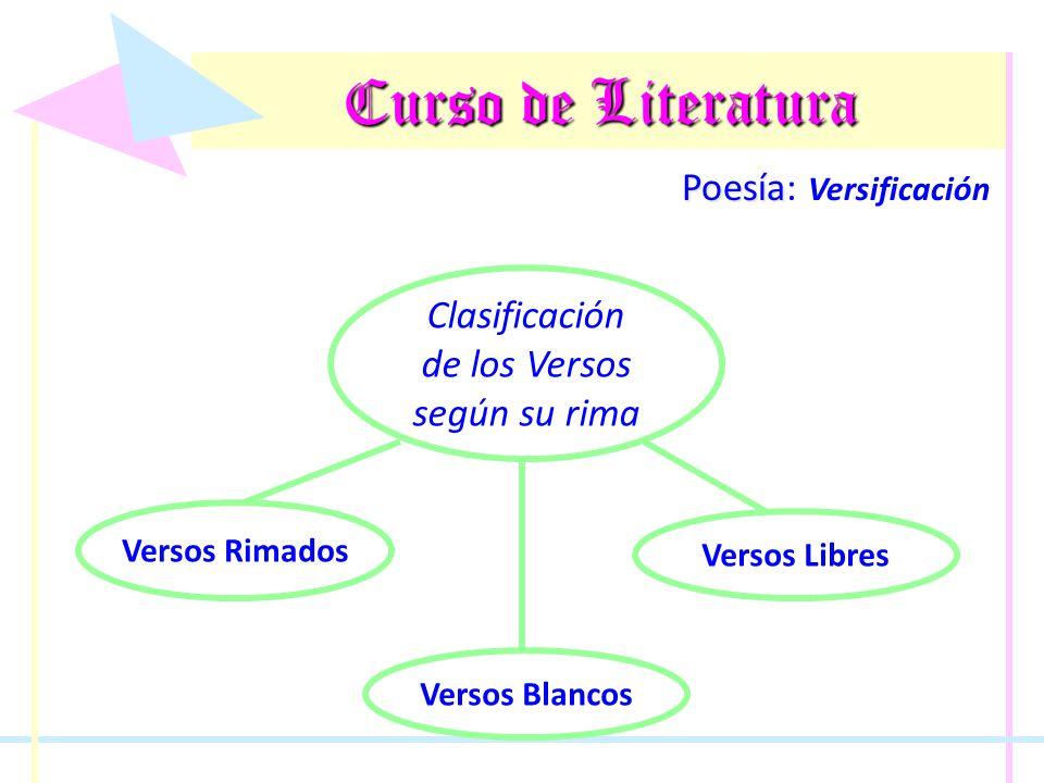 Curso de Literatura Poesía Poesía: Versificación Clasificación de los Versos según su rima Versos Blancos Versos Rimados Versos Libres