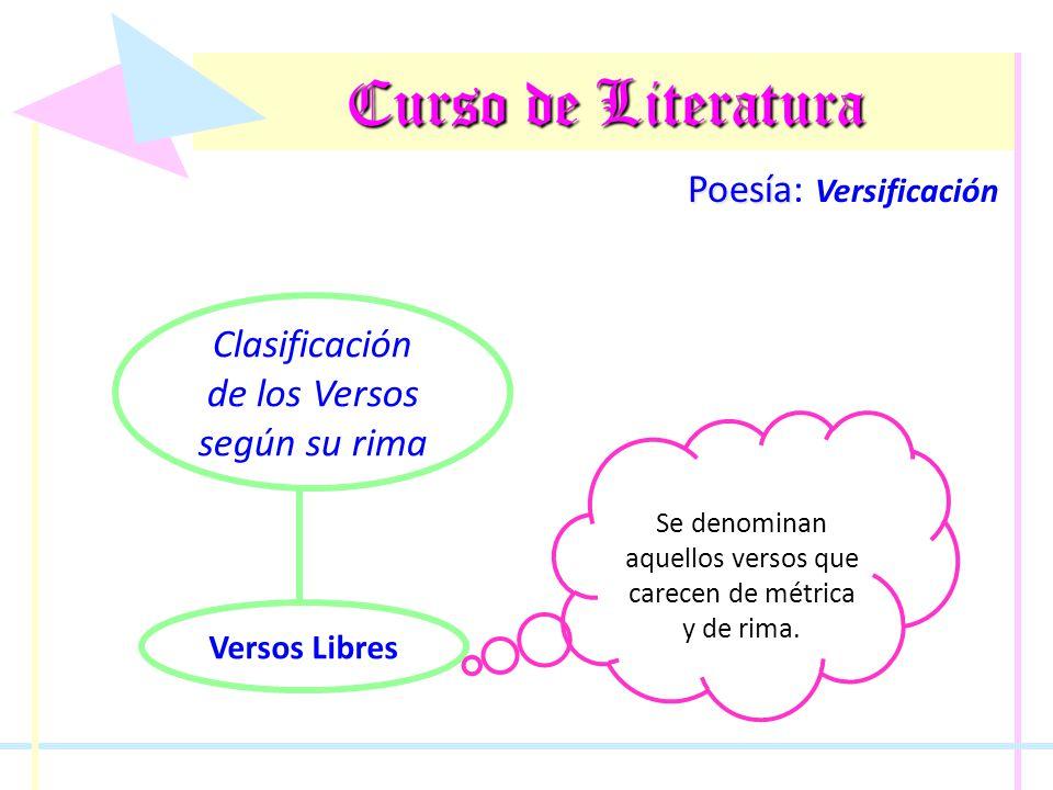 Curso de Literatura Poesía Poesía: Versificación Clasificación de los Versos según su rima Versos Libres Se denominan aquellos versos que carecen de m