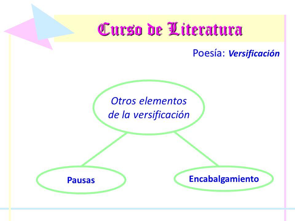 Curso de Literatura Poesía Poesía: Versificación Otros elementos de la versificación Pausas Encabalgamiento