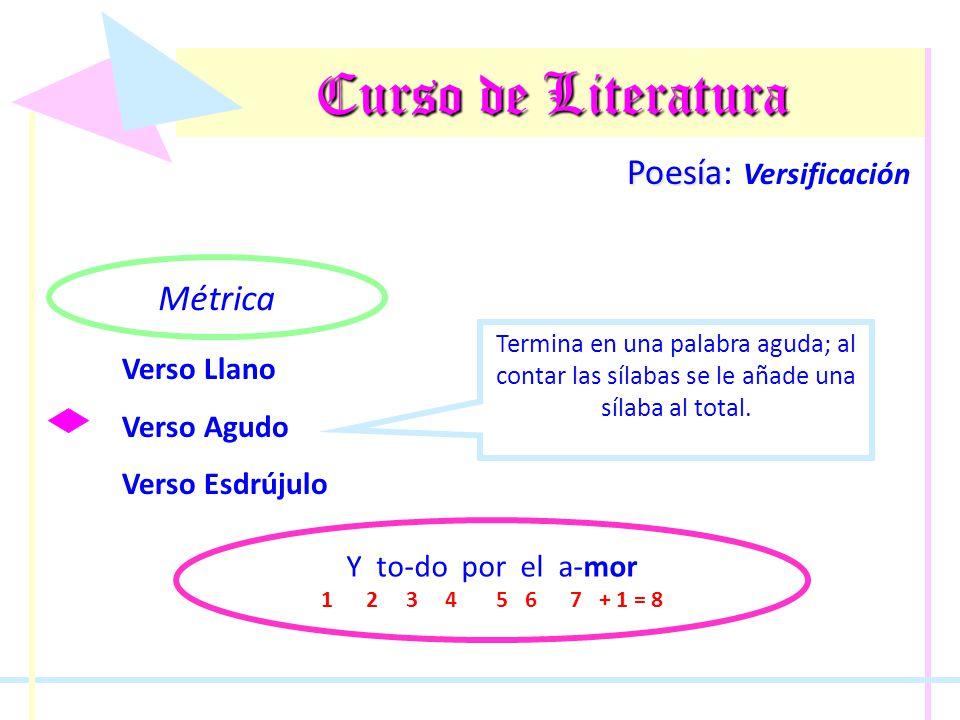 Curso de Literatura Poesía Poesía: Versificación Métrica Verso Llano Verso Agudo Verso Esdrújulo Termina en una palabra esdrújula; al contar las sílabas se le resta una sílaba al total.