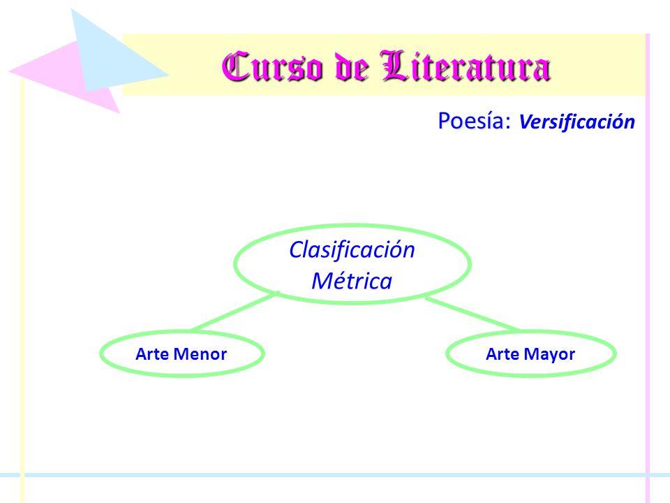 Curso de Literatura Poesía Poesía: Versificación Clasificación Métrica Son aquellos versos que tienen menos de nueve sílabas.