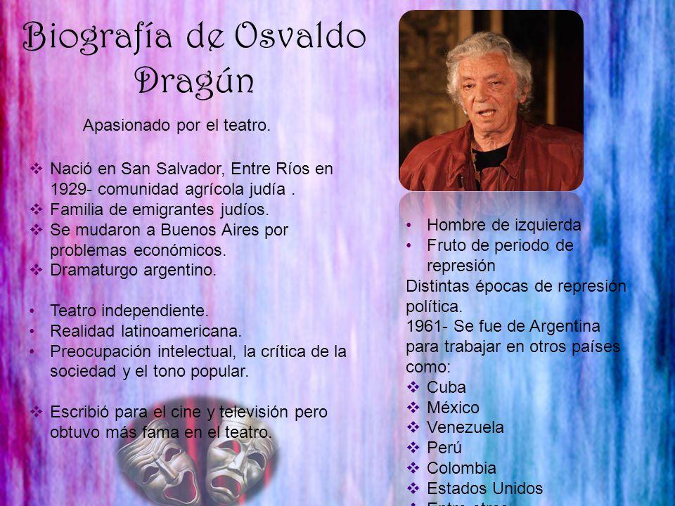 Biografía de Osvaldo Dragún Apasionado por el teatro. Hombre de izquierda Fruto de periodo de represión Distintas épocas de represión política. 1961-