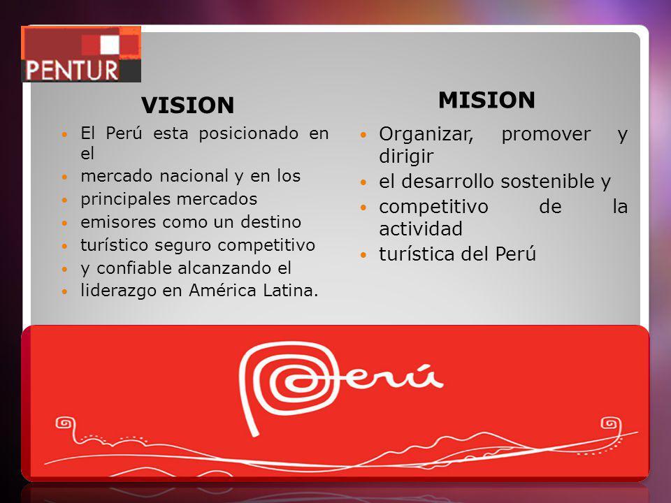 VISION MISION El Perú esta posicionado en el mercado nacional y en los principales mercados emisores como un destino turístico seguro competitivo y confiable alcanzando el liderazgo en América Latina.