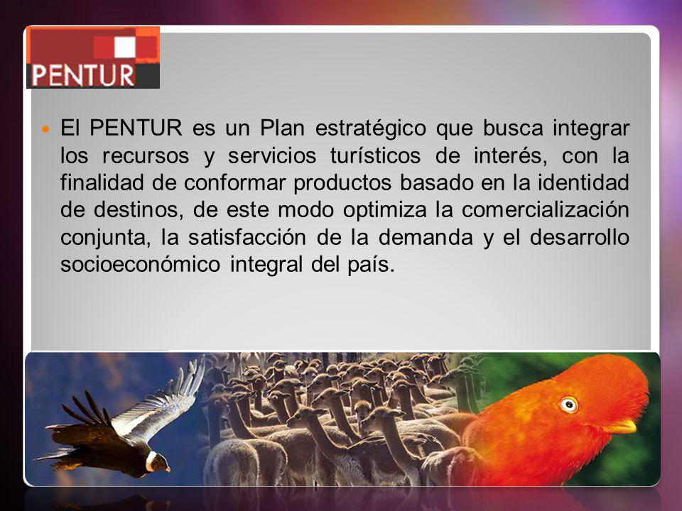 El PENTUR es un Plan estratégico que busca integrar los recursos y servicios turísticos de interés, con la finalidad de conformar productos basado en