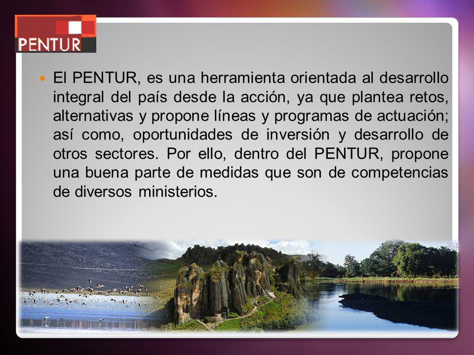 El PENTUR, es una herramienta orientada al desarrollo integral del país desde la acción, ya que plantea retos, alternativas y propone líneas y program