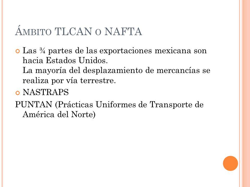 Á MBITO TLCAN O NAFTA Las ¾ partes de las exportaciones mexicana son hacia Estados Unidos. La mayoría del desplazamiento de mercancías se realiza por