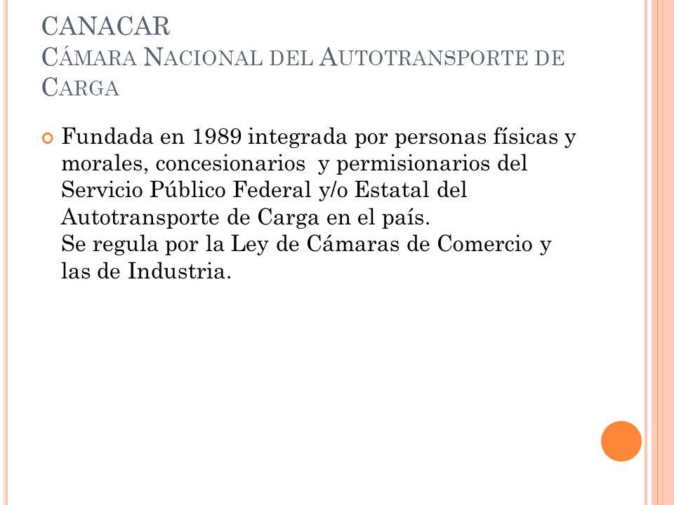 CANACAR C ÁMARA N ACIONAL DEL A UTOTRANSPORTE DE C ARGA Fundada en 1989 integrada por personas físicas y morales, concesionarios y permisionarios del Servicio Público Federal y/o Estatal del Autotransporte de Carga en el país.