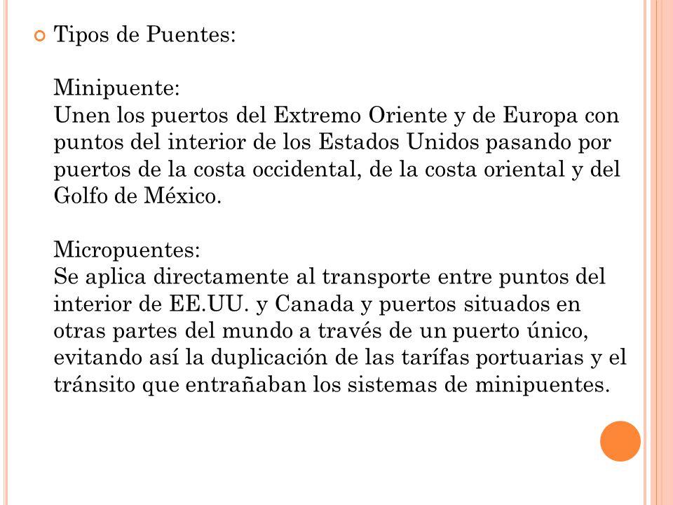 Tipos de Puentes: Minipuente: Unen los puertos del Extremo Oriente y de Europa con puntos del interior de los Estados Unidos pasando por puertos de la