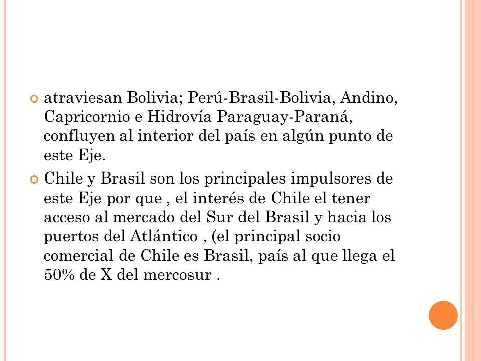atraviesan Bolivia; Perú-Brasil-Bolivia, Andino, Capricornio e Hidrovía Paraguay-Paraná, confluyen al interior del país en algún punto de este Eje.
