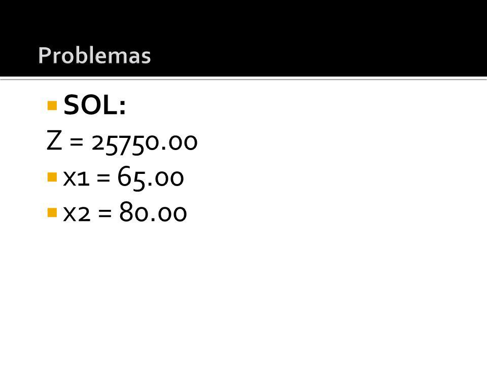 SOL: Z = 25750.00 x1 = 65.00 x2 = 80.00