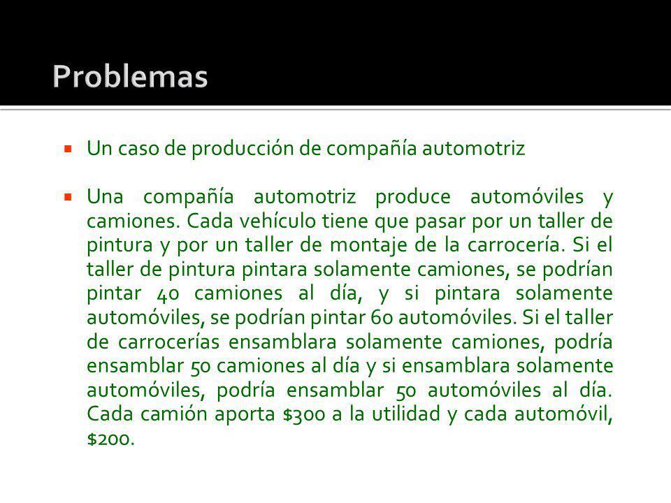 Un caso de producción de compañía automotriz Una compañía automotriz produce automóviles y camiones. Cada vehículo tiene que pasar por un taller de pi