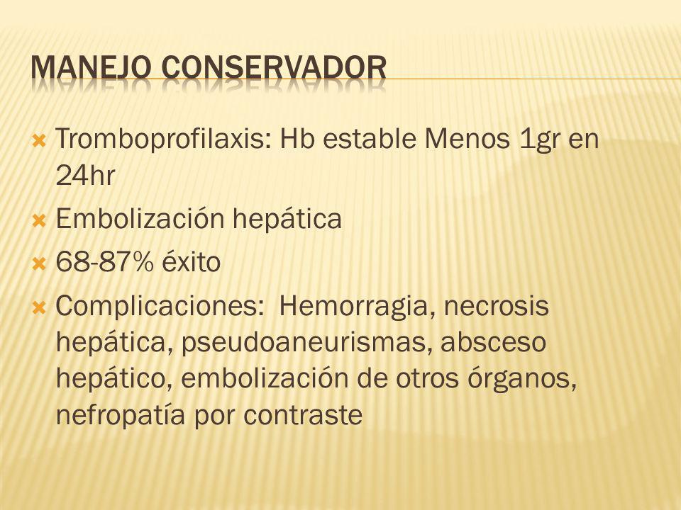 Tromboprofilaxis: Hb estable Menos 1gr en 24hr Embolización hepática 68-87% éxito Complicaciones: Hemorragia, necrosis hepática, pseudoaneurismas, abs