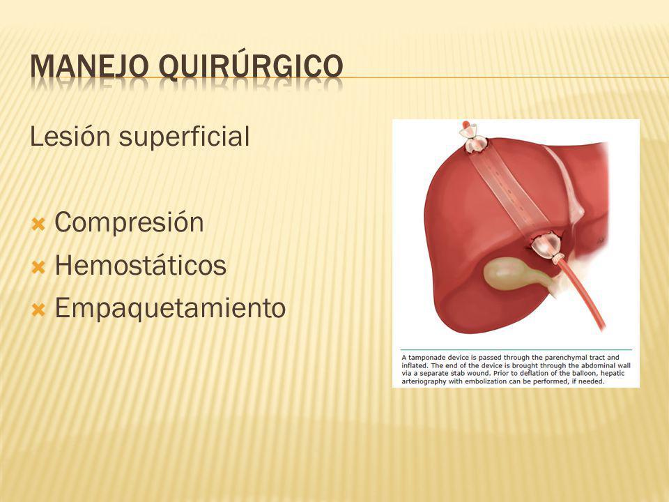 Lesión superficial Compresión Hemostáticos Empaquetamiento