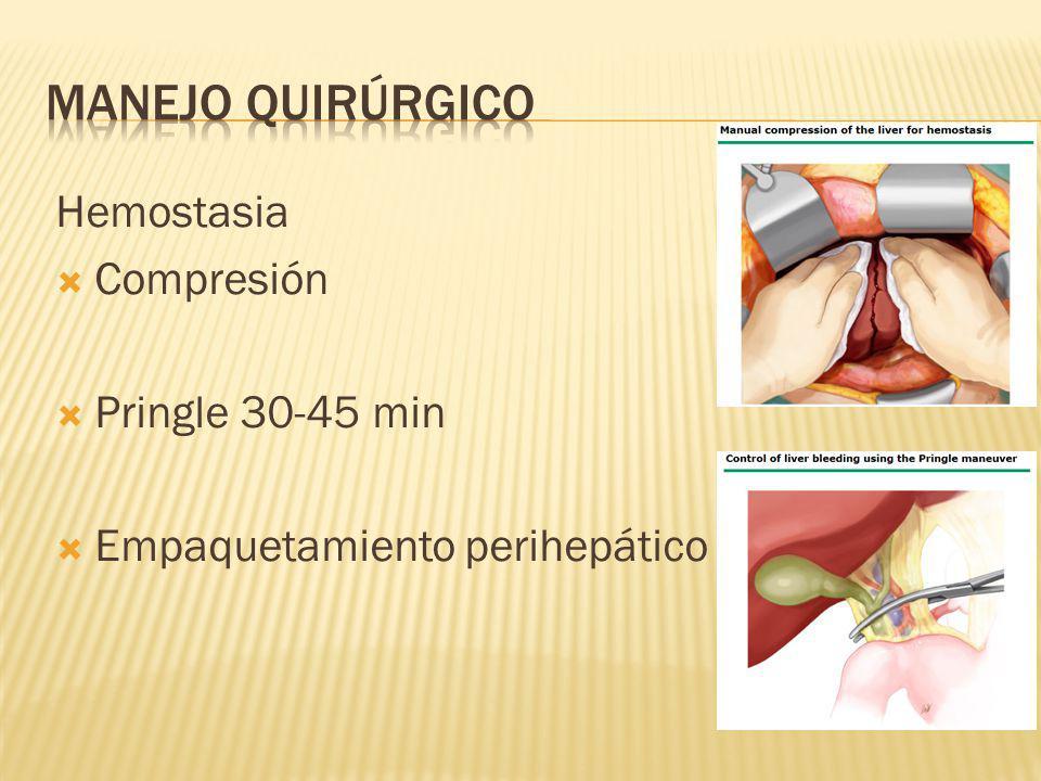 Hemostasia Compresión Pringle 30-45 min Empaquetamiento perihepático