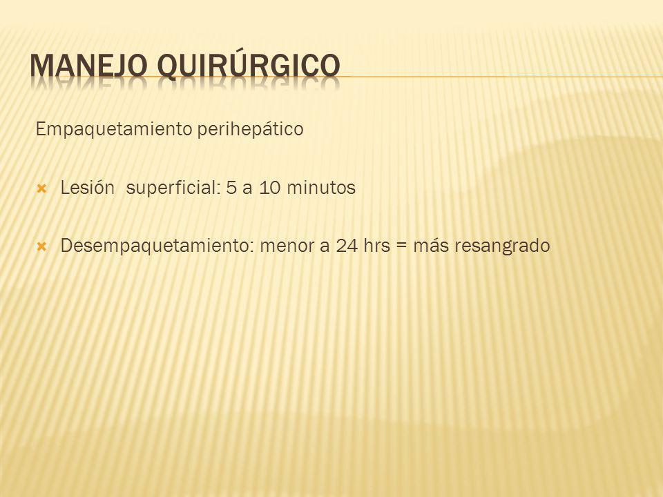 Empaquetamiento perihepático Lesión superficial: 5 a 10 minutos Desempaquetamiento: menor a 24 hrs = más resangrado