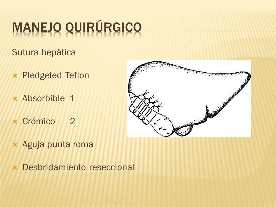 Sutura hepática Pledgeted Teflon Absorbible 1 Crómico 2 Aguja punta roma Desbridamiento reseccional
