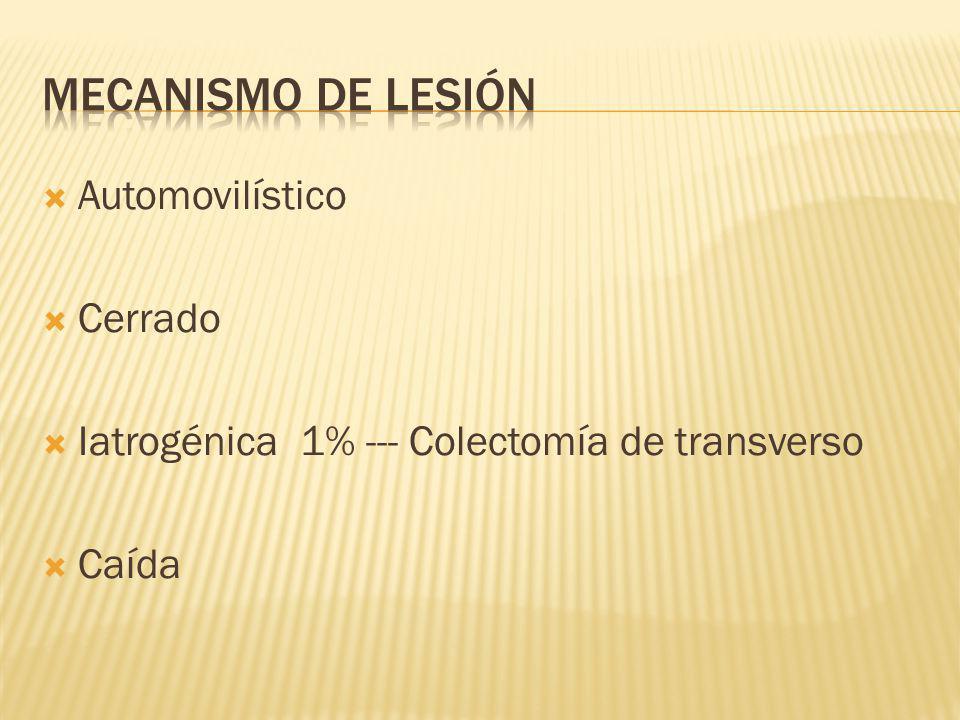 Automovilístico Cerrado Iatrogénica 1% --- Colectomía de transverso Caída