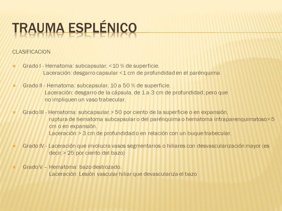 CLASIFICACION Grado I - Hematoma: subcapsular, <10 % de superficie. Laceración: desgarro capsular <1 cm de profundidad en el parénquima Grado II - Hem