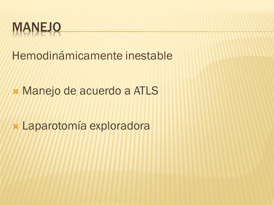 Hemodinámicamente inestable Manejo de acuerdo a ATLS Laparotomía exploradora