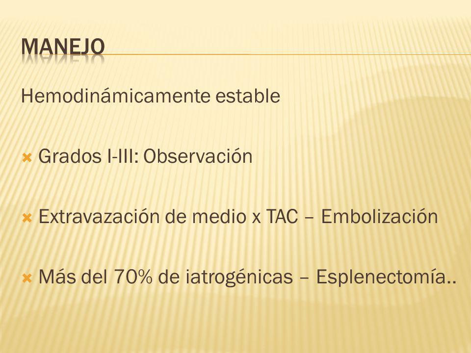 Hemodinámicamente estable Grados I-III: Observación Extravazación de medio x TAC – Embolización Más del 70% de iatrogénicas – Esplenectomía..