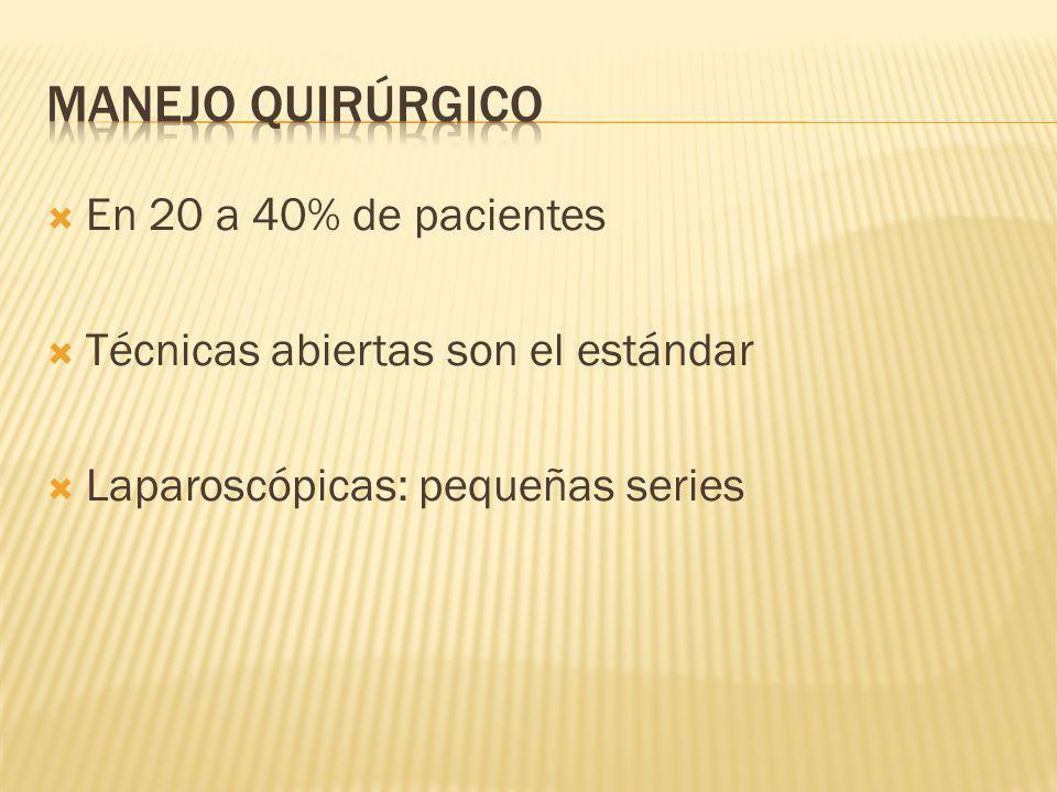 En 20 a 40% de pacientes Técnicas abiertas son el estándar Laparoscópicas: pequeñas series