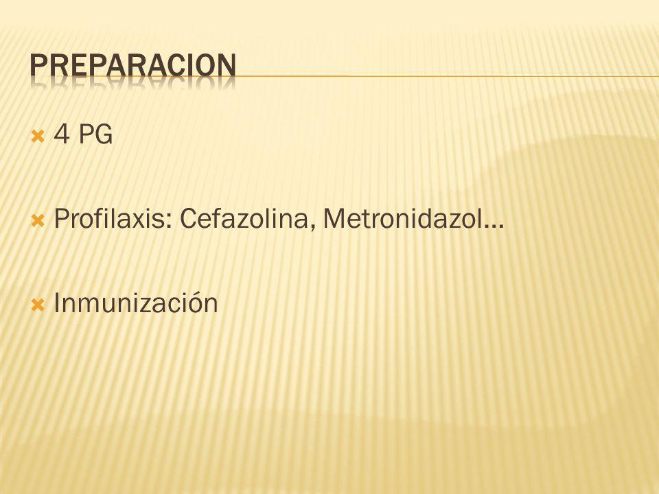 4 PG Profilaxis: Cefazolina, Metronidazol… Inmunización