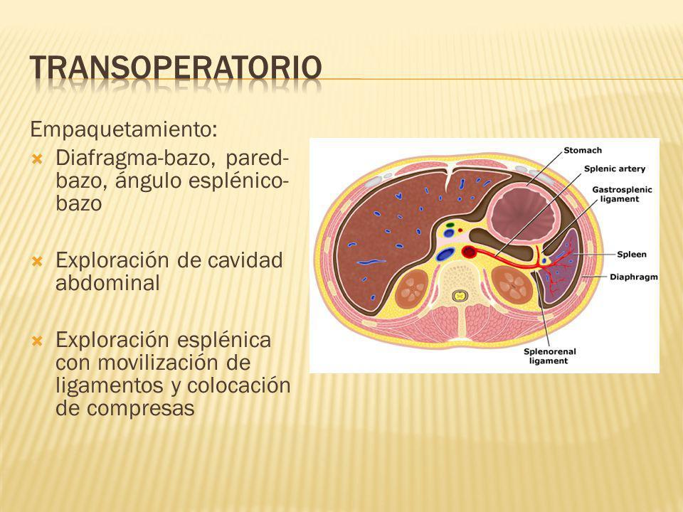 Empaquetamiento: Diafragma-bazo, pared- bazo, ángulo esplénico- bazo Exploración de cavidad abdominal Exploración esplénica con movilización de ligame