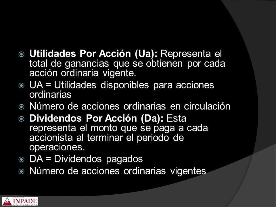 Utilidades Por Acción (Ua): Representa el total de ganancias que se obtienen por cada acción ordinaria vigente. UA = Utilidades disponibles para accio