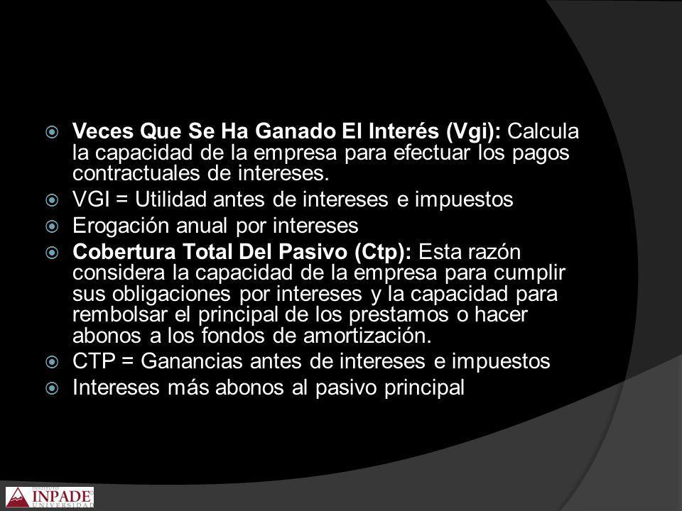 Veces Que Se Ha Ganado El Interés (Vgi): Calcula la capacidad de la empresa para efectuar los pagos contractuales de intereses. VGI = Utilidad antes d