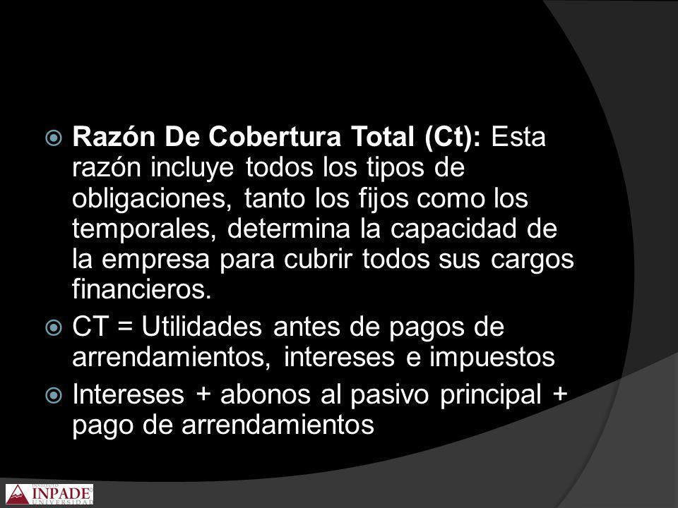 Razón De Cobertura Total (Ct): Esta razón incluye todos los tipos de obligaciones, tanto los fijos como los temporales, determina la capacidad de la e