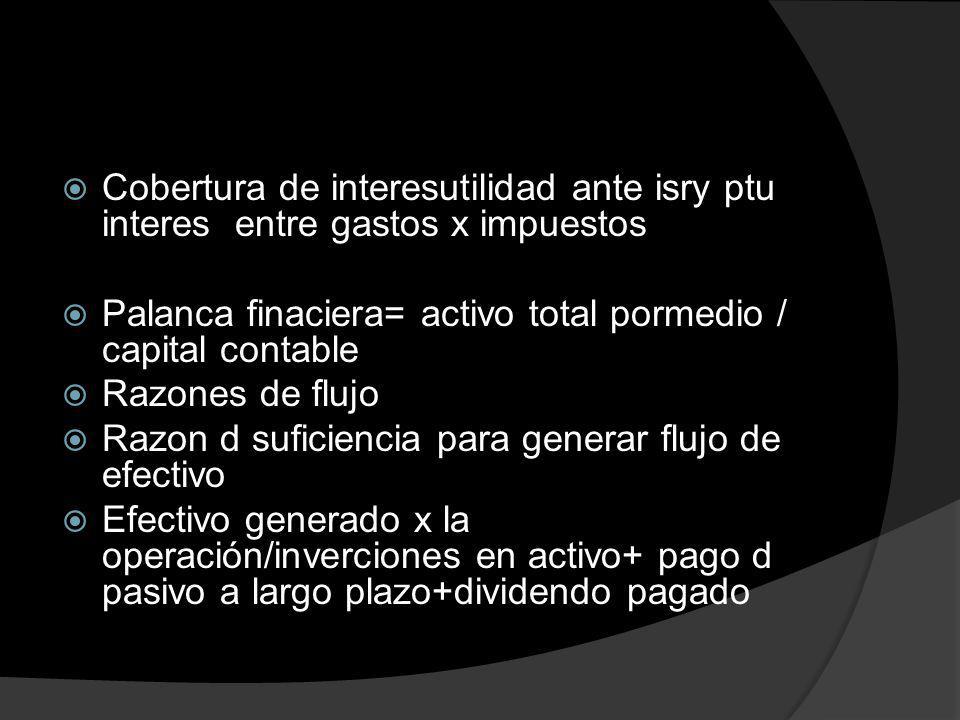 Cobertura de interesutilidad ante isry ptu interes entre gastos x impuestos Palanca finaciera= activo total pormedio / capital contable Razones de flu