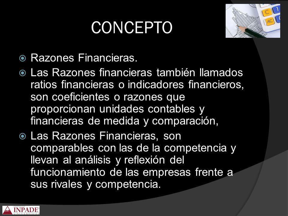 CONCEPTO Razones Financieras. Las Razones financieras también llamados ratios financieras o indicadores financieros, son coeficientes o razones que pr