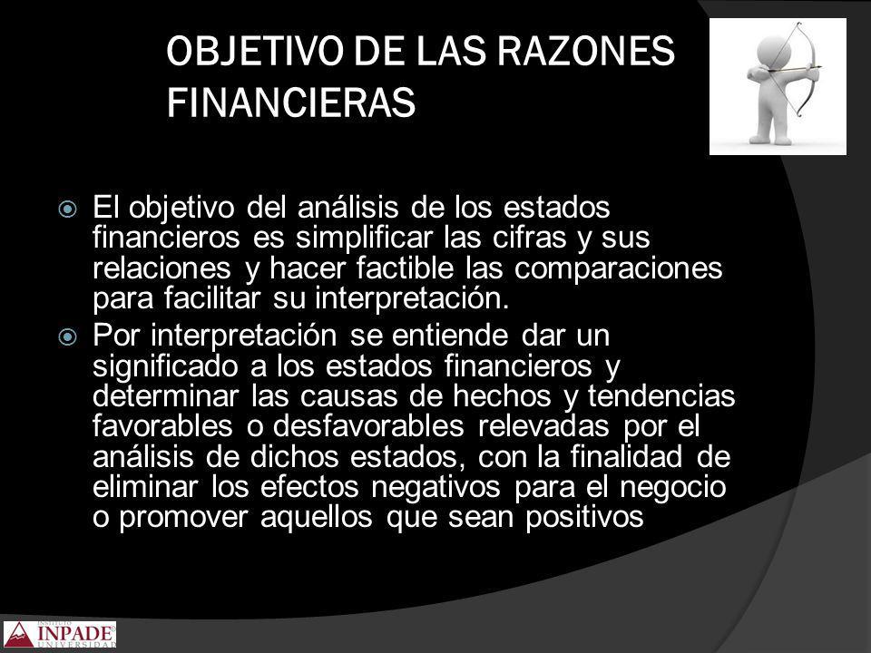 OBJETIVO DE LAS RAZONES FINANCIERAS El objetivo del análisis de los estados financieros es simplificar las cifras y sus relaciones y hacer factible la