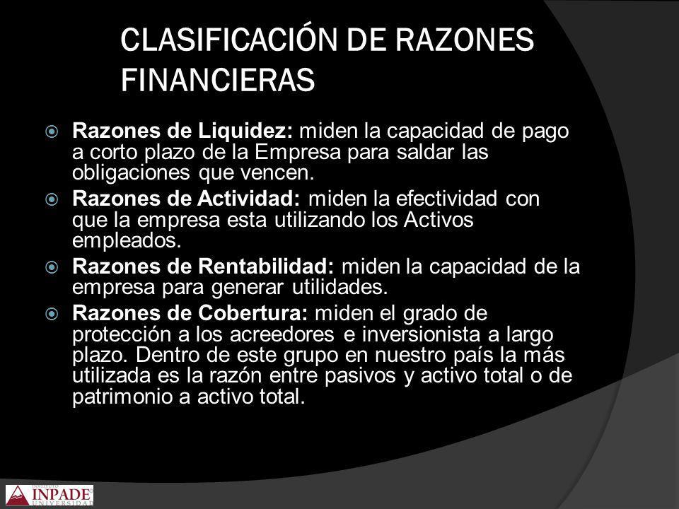 CLASIFICACIÓN DE RAZONES FINANCIERAS Razones de Liquidez: miden la capacidad de pago a corto plazo de la Empresa para saldar las obligaciones que venc