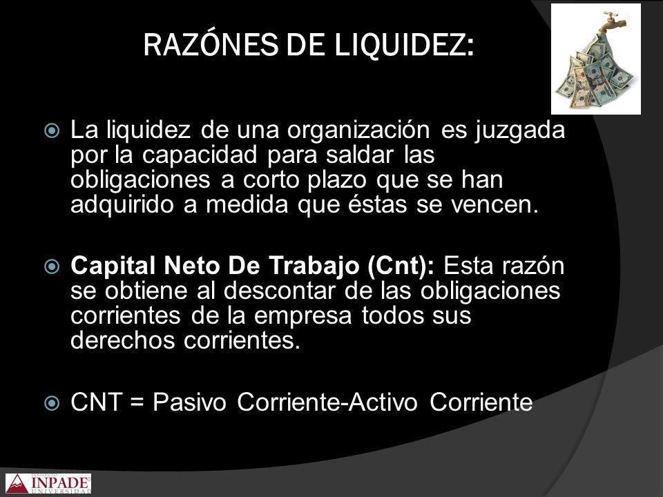 RAZÓNES DE LIQUIDEZ: La liquidez de una organización es juzgada por la capacidad para saldar las obligaciones a corto plazo que se han adquirido a med