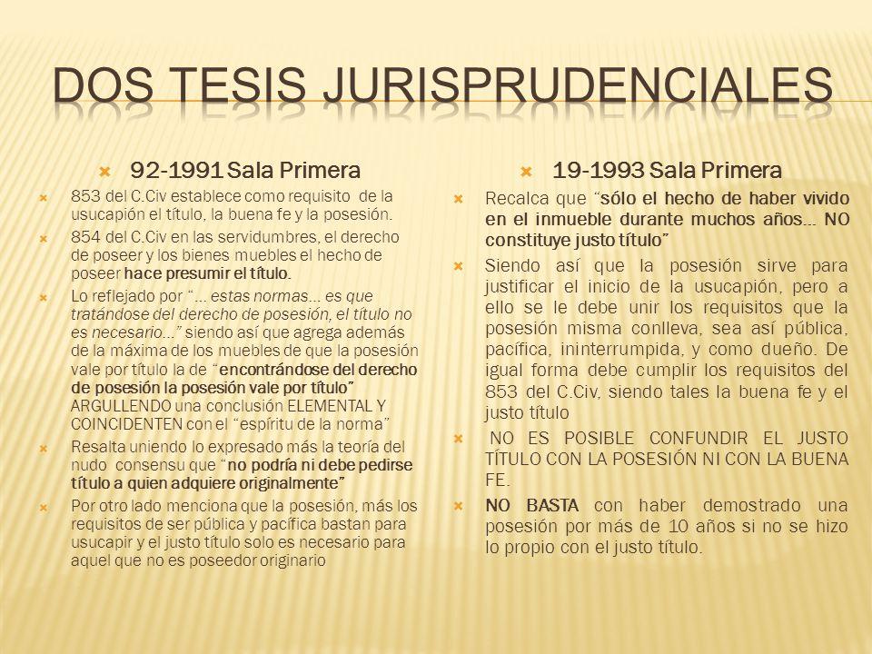 92-1991 Sala Primera 853 del C.Civ establece como requisito de la usucapión el título, la buena fe y la posesión. 854 del C.Civ en las servidumbres, e