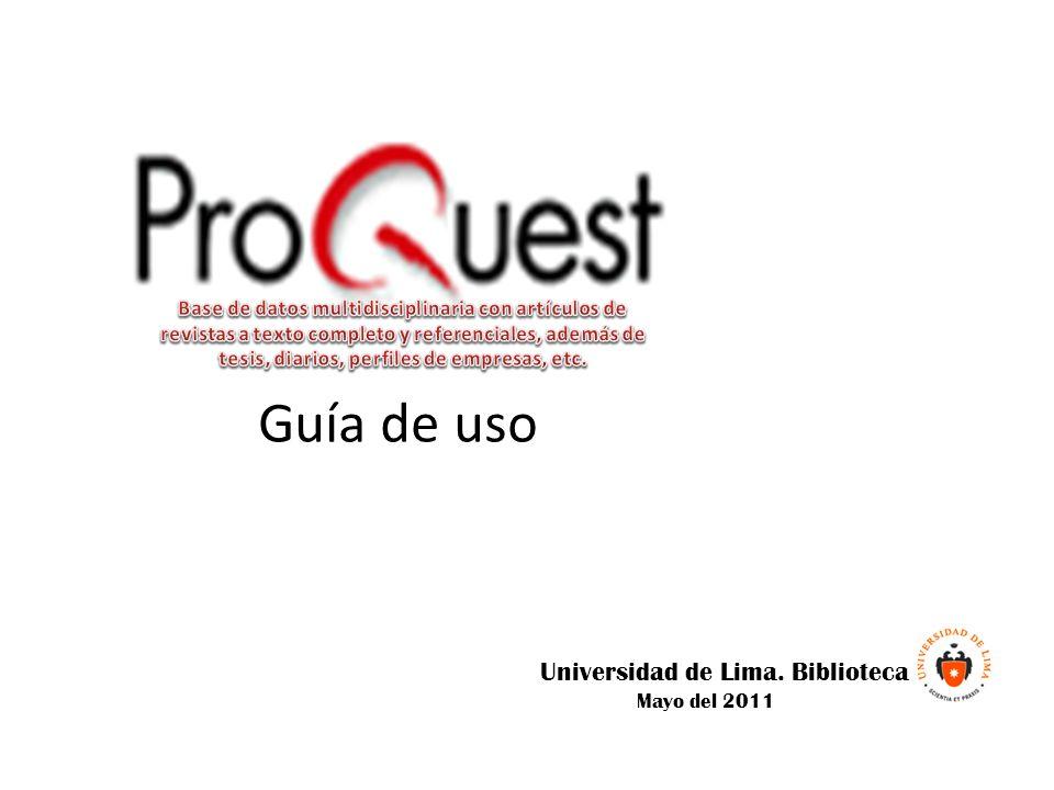 Guía de uso Universidad de Lima. Biblioteca Mayo del 2011
