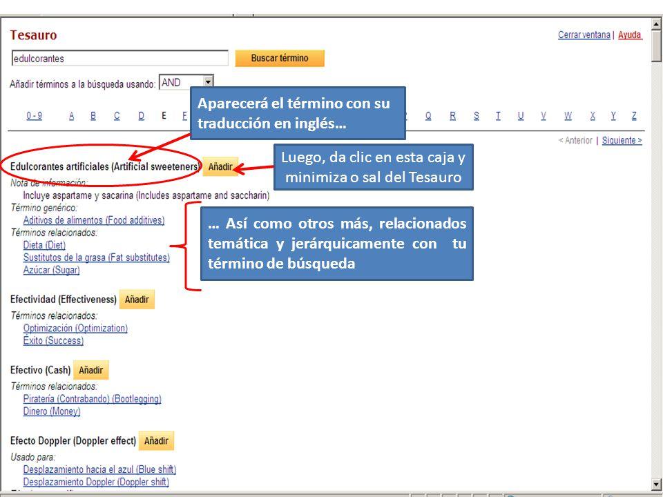Aparecerá el término con su traducción en inglés… Luego, da clic en esta caja y minimiza o sal del Tesauro … Así como otros más, relacionados temática y jerárquicamente con tu término de búsqueda