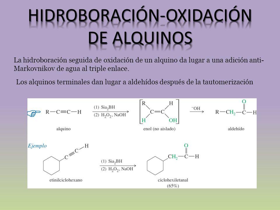 La hidroboración seguida de oxidación de un alquino da lugar a una adición anti- Markovnikov de agua al triple enlace. Los alquinos terminales dan lug