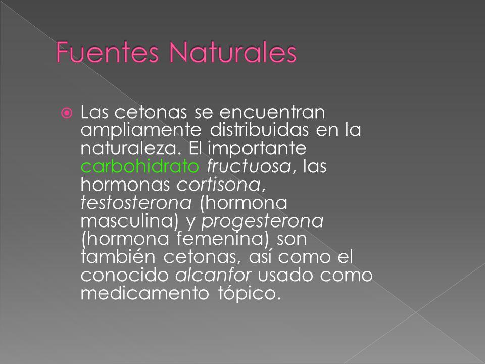 Las cetonas se encuentran ampliamente distribuidas en la naturaleza. El importante carbohidrato fructuosa, las hormonas cortisona, testosterona (hormo