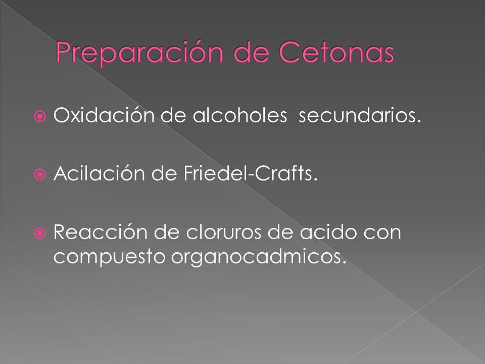 Oxidación de alcoholes secundarios. Acilación de Friedel-Crafts. Reacción de cloruros de acido con compuesto organocadmicos.