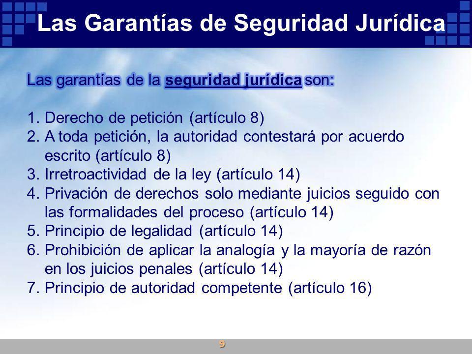 8.Mandamiento judicial escrito, fundado y motivado, para poder ser molestado en la persona, familia, domicilio, papeles o posesiones (artículo 16) 9.Detención solo con orden judicial (artículo 16) 10.Abolición de prisión por deudas de carácter puramente civil (artículo 17) 11.Expedita y eficaz administración de justicia (artículo 17) 12.Prisión preventiva solo por delitos que tengan pena corporal (artículo 18) 13.Garantías del auto de formal prisión (artículo 19) 14.Garantías del acusado en todo proceso criminal (artículo 20) 15.Solo el Ministerio Público y la policía ministerial o judicial pueden perseguir los delitos (artículo 21) Las Garantías de Seguridad Jurídica 10