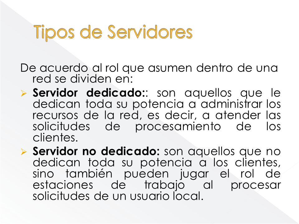 De acuerdo al rol que asumen dentro de una red se dividen en: Servidor dedicado: : son aquellos que le dedican toda su potencia a administrar los recu