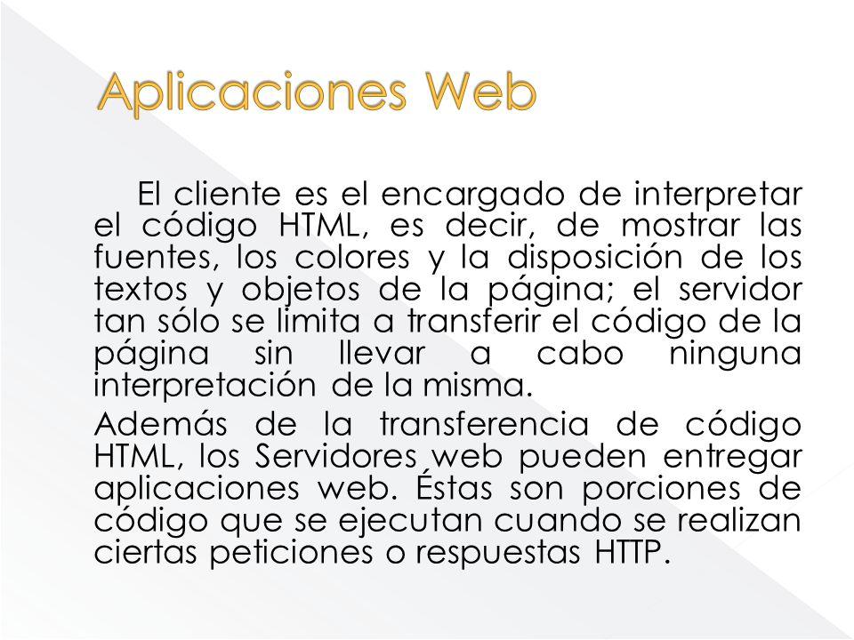 El cliente es el encargado de interpretar el código HTML, es decir, de mostrar las fuentes, los colores y la disposición de los textos y objetos de la