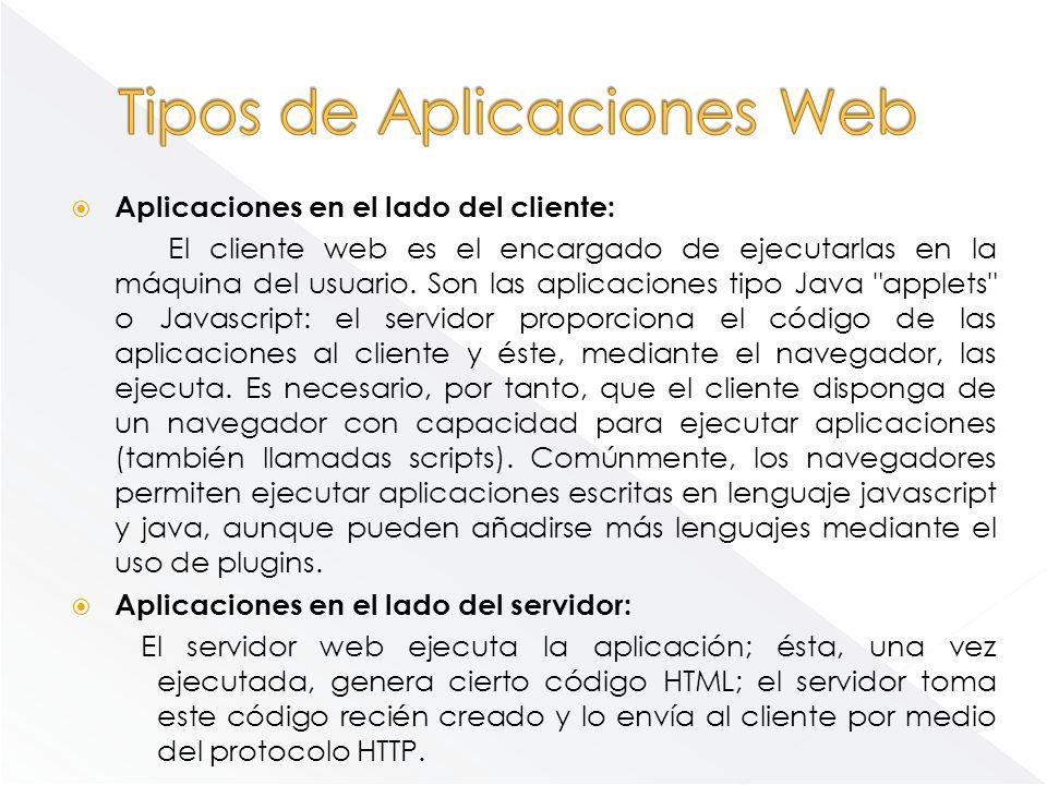 Aplicaciones en el lado del cliente: El cliente web es el encargado de ejecutarlas en la máquina del usuario. Son las aplicaciones tipo Java