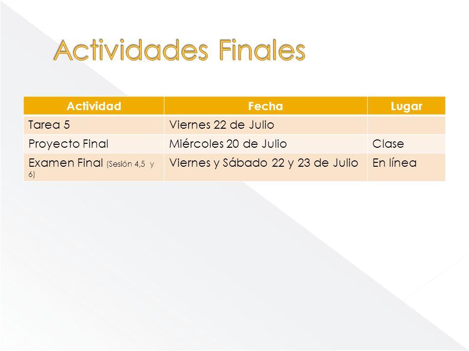 ActividadFechaLugar Tarea 5Viernes 22 de Julio Proyecto FinalMiércoles 20 de JulioClase Examen Final (Sesión 4,5 y 6) Viernes y Sábado 22 y 23 de Juli