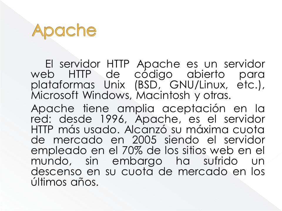 El servidor HTTP Apache es un servidor web HTTP de código abierto para plataformas Unix (BSD, GNU/Linux, etc.), Microsoft Windows, Macintosh y otras.